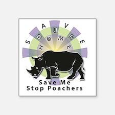 """Unique Rhinoceros horn Square Sticker 3"""" x 3"""""""