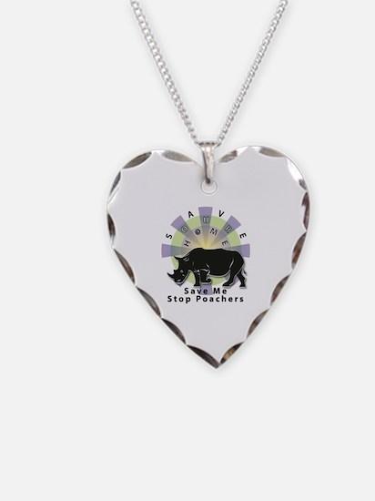 Cute Rhinoceros Necklace Heart Charm
