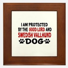 Protected By Swedish Vallhund Framed Tile
