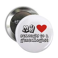 """Heart Belongs To A Genealogist 2.25"""" Button"""