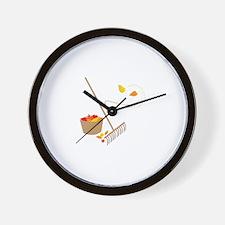 Raking Leaves Wall Clock