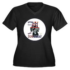 Daneocrat Women's Plus Size V-Neck Dark T-Shirt