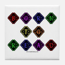 Born to Read Diamonds Tile Coaster