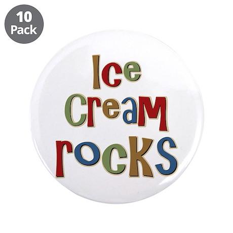 """Ice Cream Frozen Dessert Lover 3.5"""" Button (10 pac"""