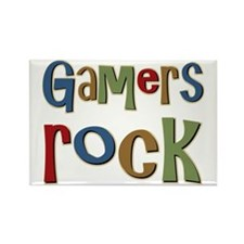 Gamers Rock RPG Video Geek Rectangle Magnet