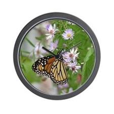 Monarch on Wild Asters Wall Clock