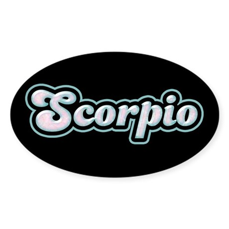 Retro Zodiac Scorpio Oval Sticker