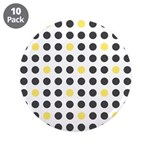 "Mod Black Polka Dots 3.5"" Button (10 pack)"