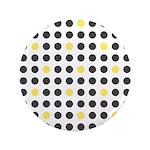 """Mod Black Polka Dots 3.5"""" Button"""