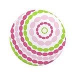 "Pink & Green Mod Retro 3.5"" Button (100 pack)"