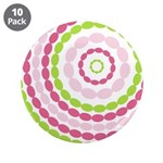 "Pink & Green Mod Retro 3.5"" Button (10 pack)"