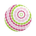 "Pink & Green Mod Retro 3.5"" Button"