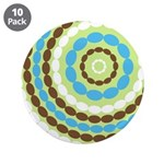 "Blue & Brown Mod 3.5"" Button (10 pack)"