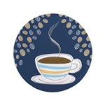 """Retro Coffee Art 3.5"""" Button"""
