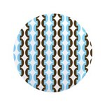 """Brown and Blue Stripes 3.5"""" Button"""