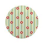 """Retro Floral Stripe 3.5"""" Button"""