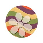 "Floral Striped Hippie Art 3.5"" Button (100 pack)"