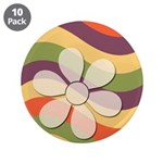 "Floral Striped Hippie Art 3.5"" Button (10 pack)"
