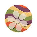 """Floral Striped Hippie Art 3.5"""" Button"""