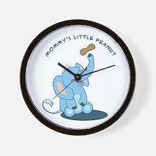 Mommy's little peanut - blue Wall Clock