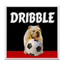 Soccer dog dribble Tile Coaster