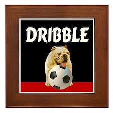 Soccer dog dribble Framed Tile