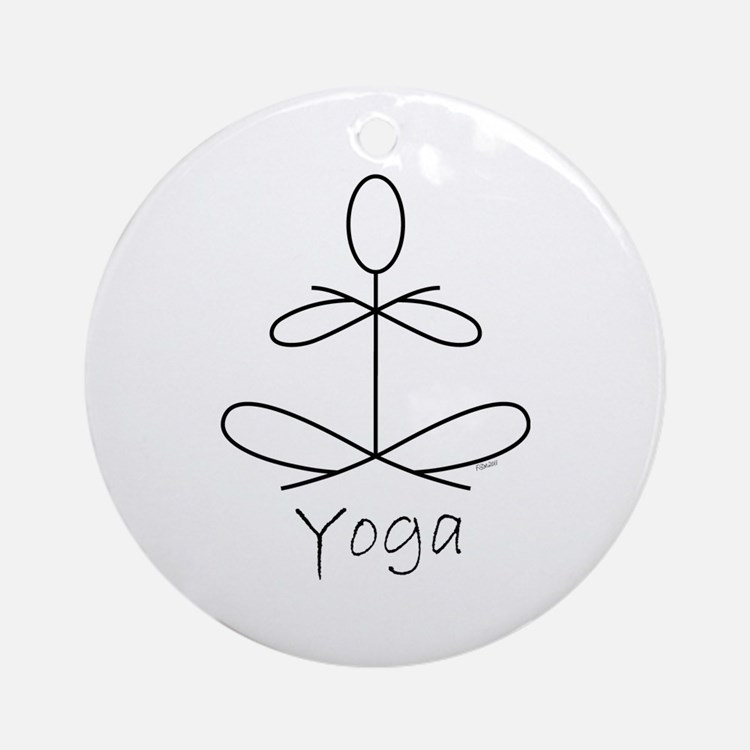 Yoga Glee in White Ornament (Round)