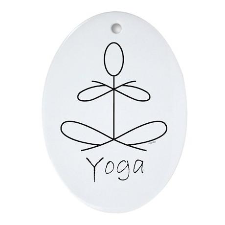 Yoga Glee in White Ornament (Oval)