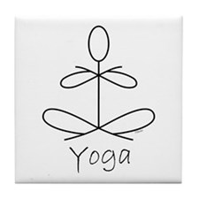 Yoga Glee in White Tile Coaster