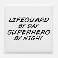 Lifeguard Superhero by Night Tile Coaster