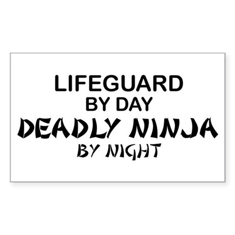 Lifeguard Deadly Ninja by Night Sticker (Rectangul