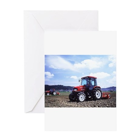 Red Tractor Cloudy Sky Greeting Card