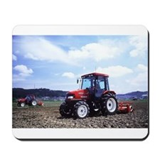 Red Tractor Cloudy Sky Mousepad