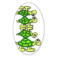 STACK OF TURTLES Oval Decal