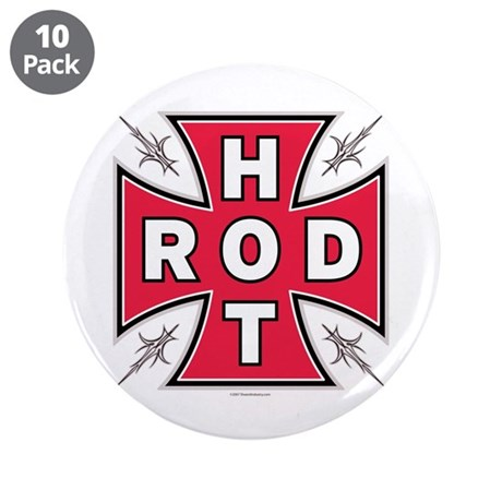 "HOT ROD CROSS 3.5"" Button (10 pack)"
