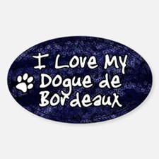 Funky Love Dogue de Bordeaux Oval Decal