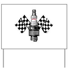SPARK PLUG and FLAGS Yard Sign