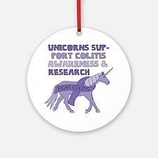 Unicorns Support Colitis Awareness Round Ornament