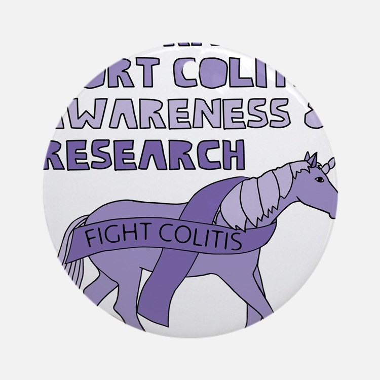 Unicorns Support Colitis Awareness Round Ornament