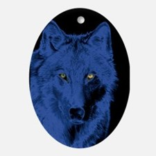 Wolf Face-Blue Oval Ornament