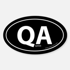 Qatar country bumper sticker -Black (Oval)