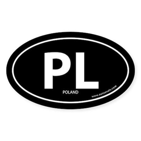 Poland PL country bumper sticker -Black (Oval)