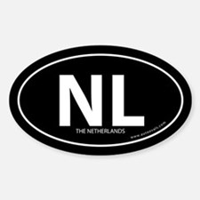 Netherlands country bumper sticker -Black (Oval)