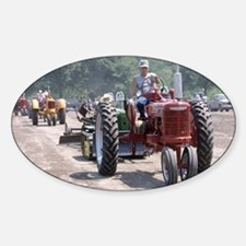 Tractor on Dirty Road Oval Decal
