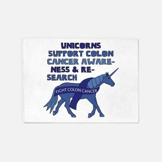 Unicorns Support Colon Cancer Aware 5'x7'Area Rug