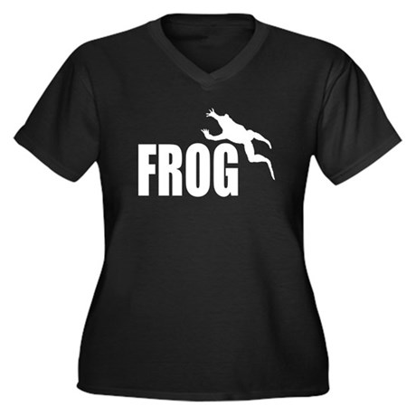 Frog shirts Women's Plus Size V-Neck Dark T-Shirt