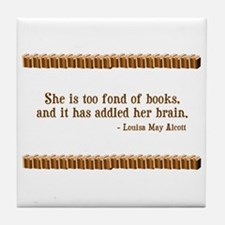 Too Fond of Books Tile Coaster