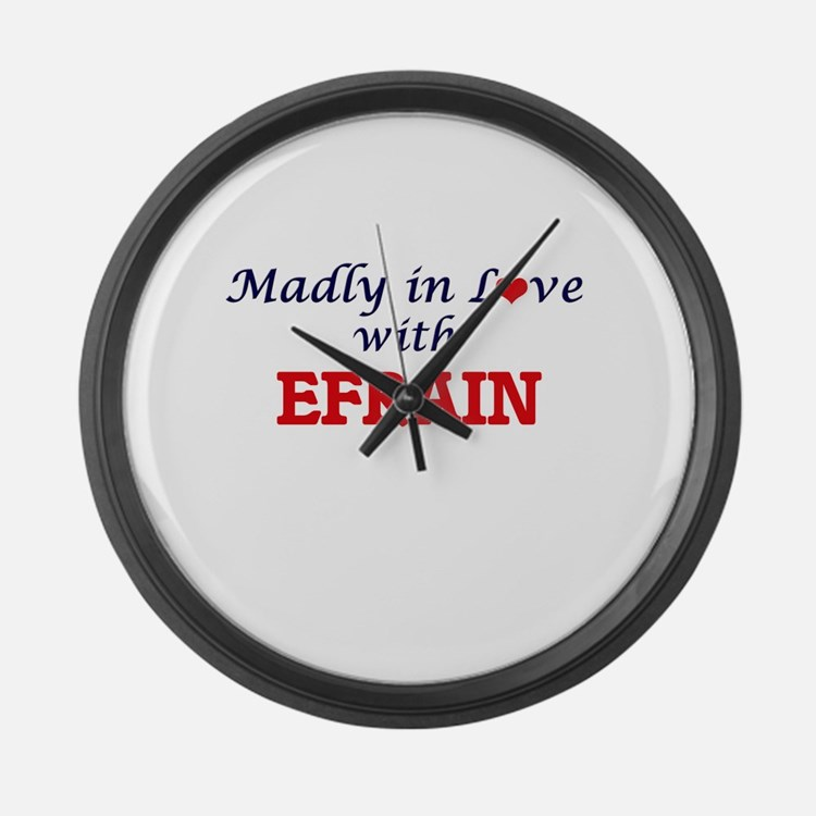Madly in love with Efrain Large Wall Clock