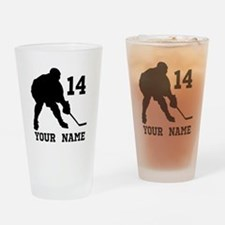 Custom Hockey Player Gift Drinking Glass