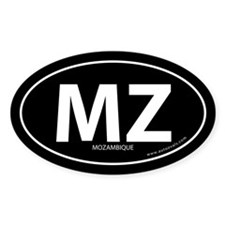 Mozambique country bumper sticker -Black (Oval)
